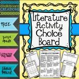 Literature Activity Choice Board: 3rd -5th Grades (Distanc