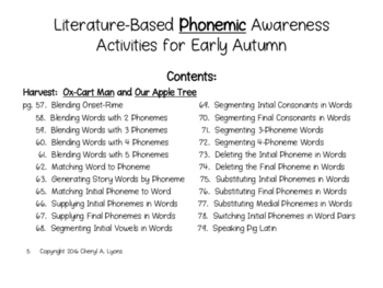 Literature-Based Phonemic Awareness Activities for Early Autumn