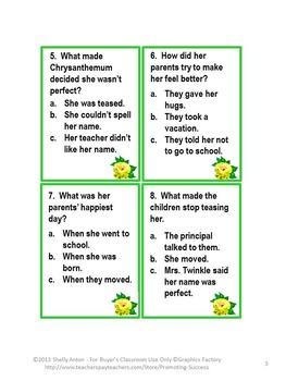 Chrysanthemum Back to School Activities, Reading Comprehension Questions
