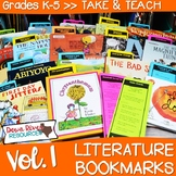 Literature Bookmarks for Picture Book Read Alouds {Take and Teach Volume 1}