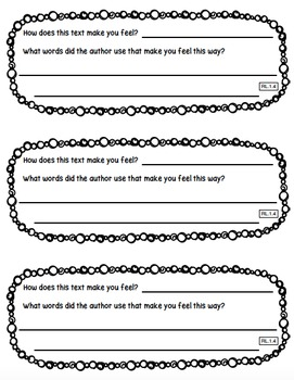 Reading Exit Slips First Grade Literature CCSS