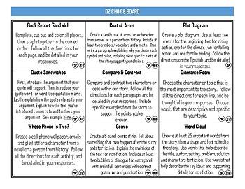 Literature Choice Board - Quarter 2