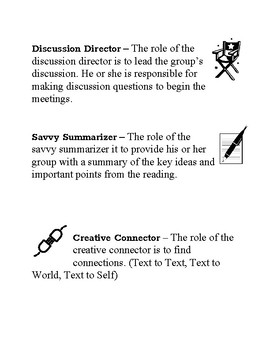Literature Circle 8 Different Role Cards