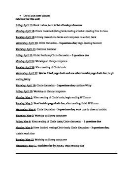 Literature Circle Assignment Sheet