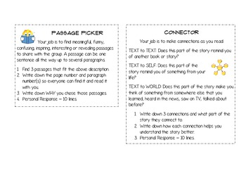 Literature Circle (Student Roles) Reminder Cards