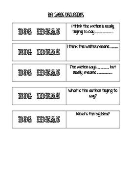 Big Ideas Question Stems
