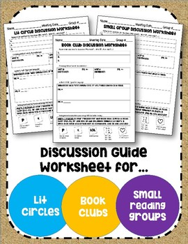 Literature Circle~Book Club~Small Group Reading Discussion Guide Worksheet