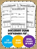 Literature Circle~Book Club~Small Group Reading Discussion Guide Worksheets