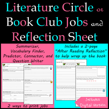 Literature Circle/ Book Club Jobs and Response Sheet for After Reading