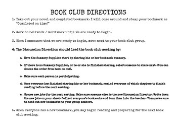Literature Circle / Book Clubs for ANY BOOK! (Directions & Job / Role Bookmarks)