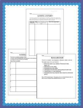 Literature Circles--Role Sheets, Evaluation Rubrics, Expectations & More!