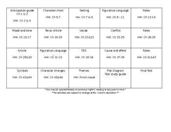 Literature Circle Calendar for Survival Novel Study