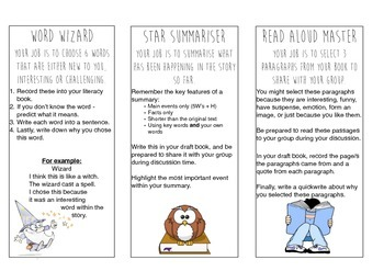 Literature Circle Task Cards with Illustrations