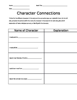Literature Circle: Character Connections