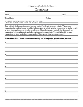 Literature Circle Connector Role Sheet