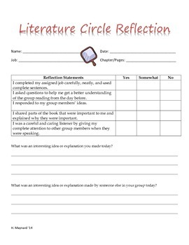 Literature Circle Directions, Jobs, and Printouts