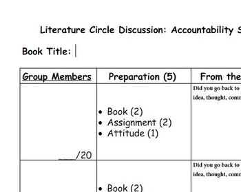Literature Circle Discussion Accountability Sheet