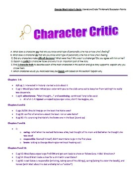 Literature Circle Discussion Points for George Washington's Socks