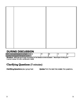 Literature Circle Discussion Sheet