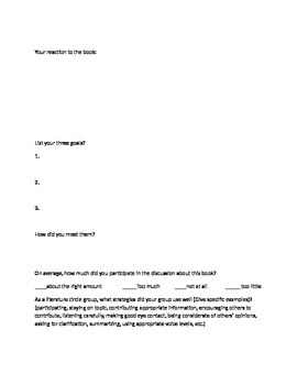 Literature Circle Evaluations and Group Projects