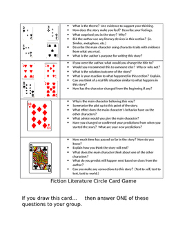 Literature Circle Game With Playing Cards (Fiction)