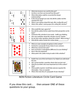 Literature Circle Game With Playing Cards (Non-Fiction)