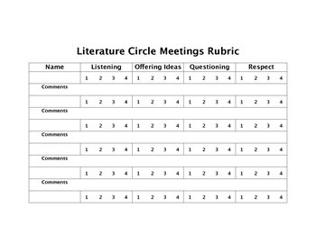 Literature Circle Group Participation Rubric