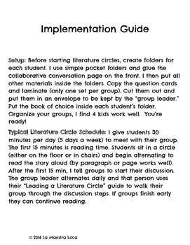 Literature Circle Guide and Journal Materials: Works with any book!