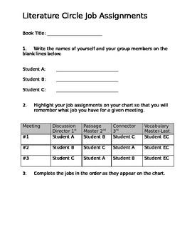 Literature Circle Job Assignments
