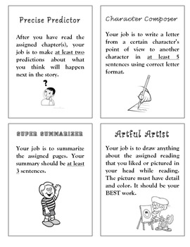 Literature Circle Job Bookmarks