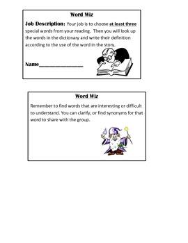 Literature Circle Job Cards