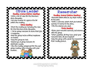 Literature Circle Job Cards (Supports CCSS)