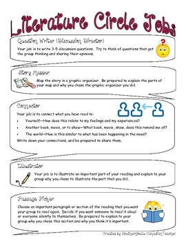 Literature Circle Job Descriptions FREEBIE