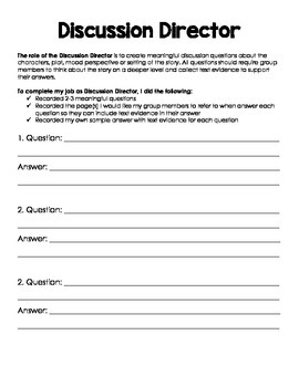 Literature Circle Job Forms
