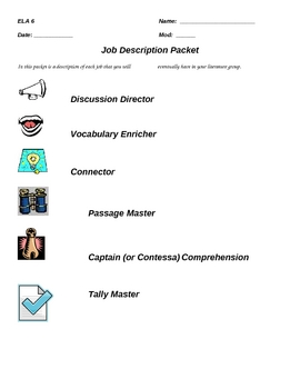 Literature Circle Job and Job Descriptions (Generic)