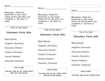 Literature Circle Jobs Bookmark