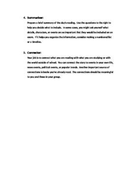 Literature Circle Jobs Descriptions