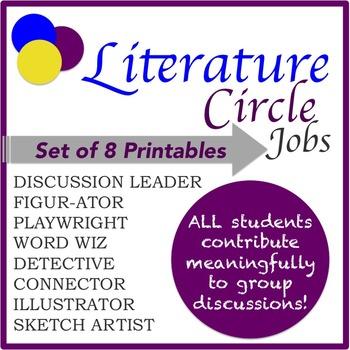 Literature Circle Jobs: Set of 8 Printables
