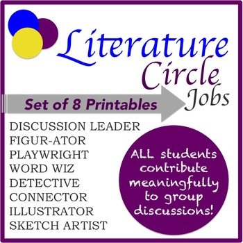 Literature Circle Jobs: Set of 8 Printables by The HOT Spot