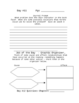 Literature Circle Journal and Activities for Students