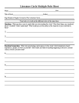 Literature Circle Multiple Role Sheet