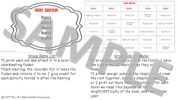Literature Circle Organization Pack
