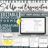 Literature Circle Organization & Set Up | Editable Forms | Book Club Templates