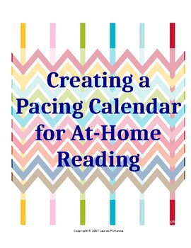 Literature Circle Pacing Calendar for At-Home Reading