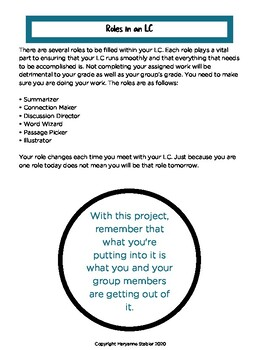Literature Circle Packets for the Middle and High School Classroom