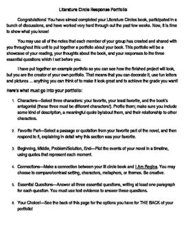 Literature Circle Portfolio assignment