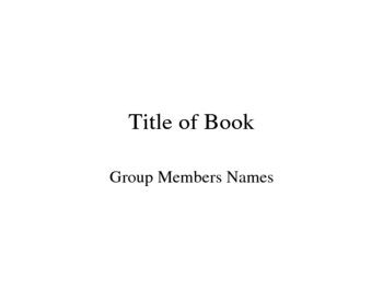 Literature Circle PowerPoint