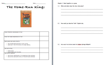 Literature Circle Questions: Home Run King