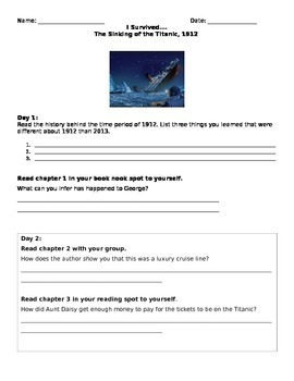 Literature Circle Questions: The Sinking of Titanic