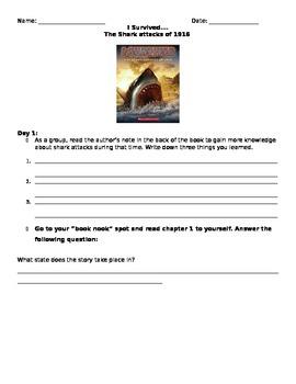 Literature Circle Questions: I Survived Shark Attacks